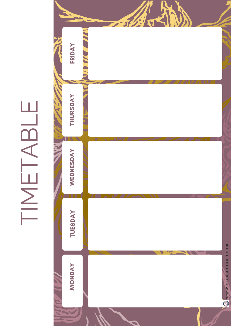 Gold and Purple Marble Effect Planner
