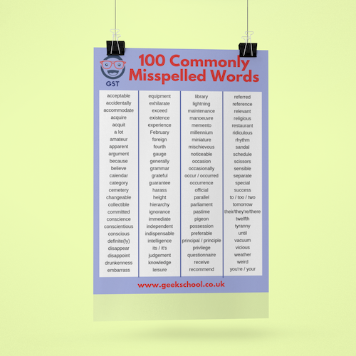 100 Commonly Misspelled Words Vocabulary Poster Pdf Download