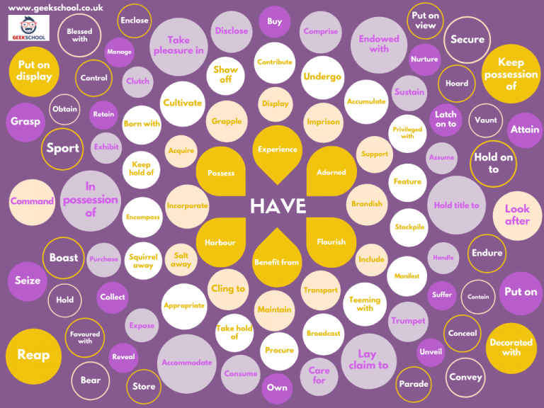 100 Ways to Say Have Vocabulary Poster
